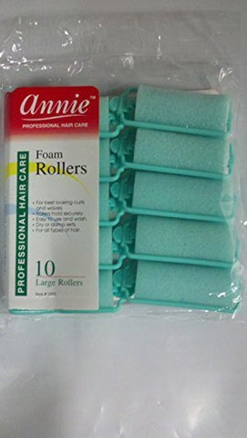 (2packs)annie 1 Large Foam Hair Rollers Green- 10 Pk. (#1053) by Annie