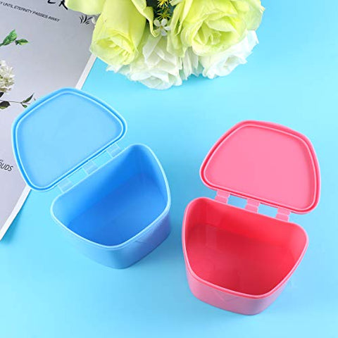 HEALLILY Portable Denture Case Lid Dentures Storage Box Orthodontic Dental Retainer Box 2pcs(Blue and Rosy)