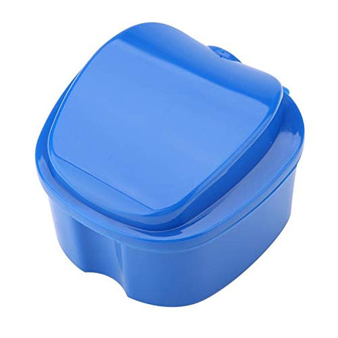 QWERTOUR Denture Bath Box Case Dental False Teeth Storage Box with Hanging Net Container Plastic Artificial Tooth Organizer Teeth Care,A