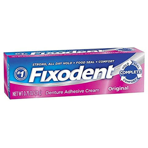 Fixodent Original Denture Strong Hold Adhesive Cream 1.4 Ounce (12 Pack) | Travel Size