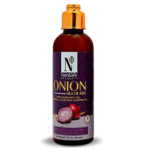 NUTRIGLOW NATURALS ONION HAIR OIL/ANTI HAIR FALL/HAIR RE-GROWTH/FOR DAMAGE HAIR/TANGLED FREE HAIR/100 ML