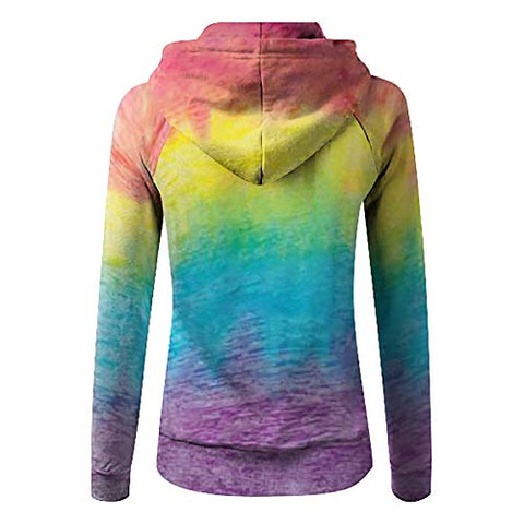 YSLMNOR Zipper Hoodies Womens Tie-Dyed Print Coat Long Sleeve Pocket Sweatshirts Plus Size Pullover