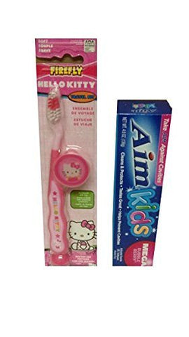 Children's Soft Toothbrush Travel Kit Bundle - Hello Kitty Toothbrush with Suction Cup and 4.8 Oz Aim Kids Toothpaste Bubble Berry Flavor by Firefly