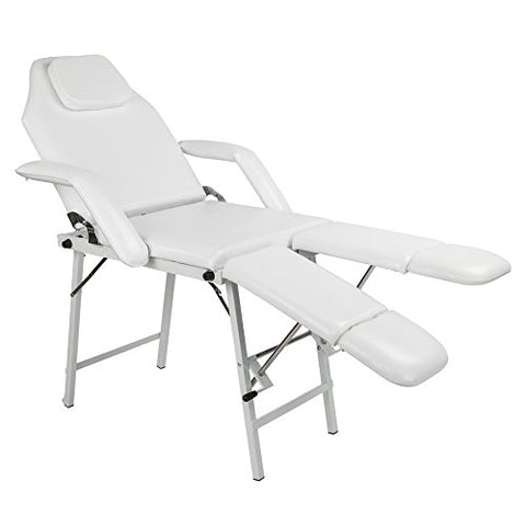 Tattoo Chair with Adjustable Leg Rest Bed Message Salon Spa Table Max Weight Capacity 500lbs White