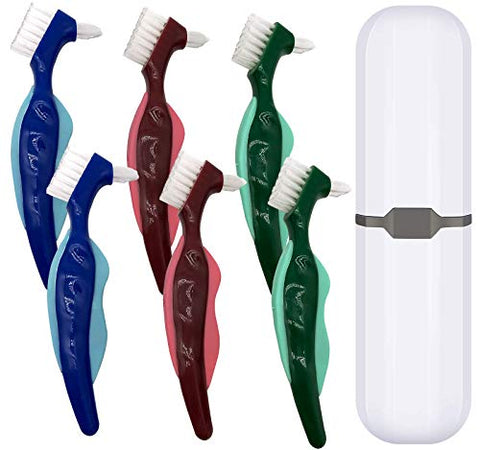 6 Pcs Premium Hard Denture Brush Toothbrush, White Carrying Case, Multi-Layered Bristles & Portable Denture Double Sided Brush, Denture Care