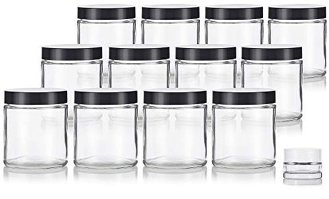 Clear Thick Glass Straight Sided Jars - 4 oz / 120 ml (12 Pack) + Small Glass Balm Jar