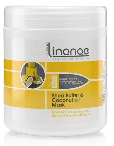 Linange Shea Butter and Coconut Oil Mask 1000ml; Softening, Strengthening, Moisturizing, Nourishing, Hair Care Product; Hair Mask w/ Proteins for Men and Women  for Thin, Dry, Damaged, Curly Hai