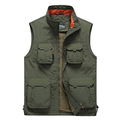 iLXHD Fashion Men Casual Solid Outdoor Quick-Drying Vest Jacket Tops Blouse Army Green