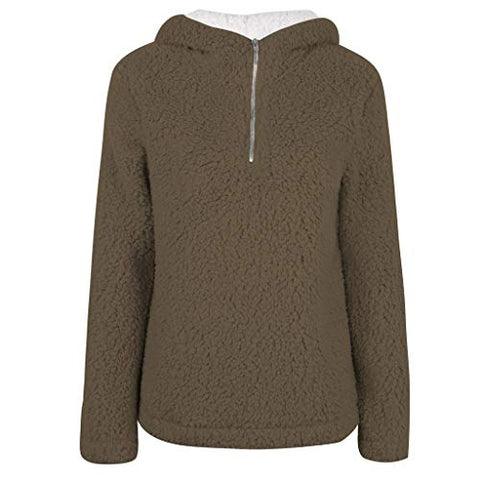 WUAI-Women Sherpa Sweatshirt Pullover Fuzzy Fleece Winter Coat Hooded Jackets?Brown,Medium