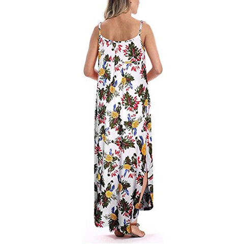 terbklf Maxi Dresses for Women Summer Sexy Long Dress Ladies Vintage Floral Dress Beach Party Wedding Dress with Pockets White