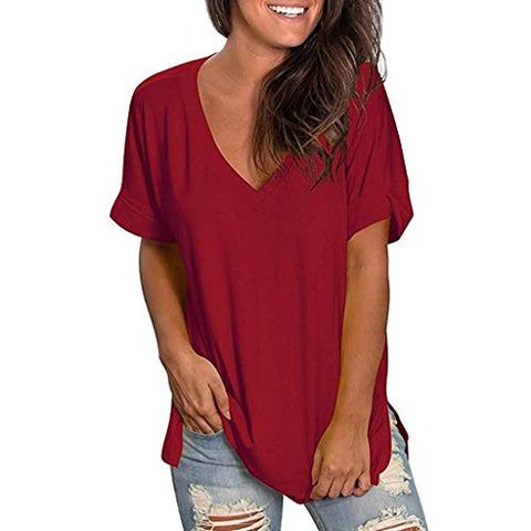 terbklf Ladies Solid Loose Tops Shirt Women Summer V-Neck Short Sleeve Basic Shirt Casual Tunic Tops Blouse Solid Color Wine Red