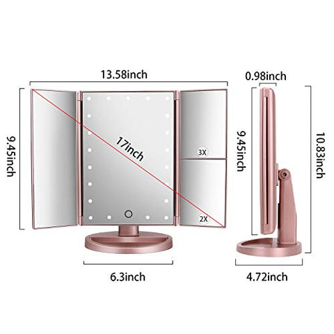 Tri Fold Lighted Vanity Makeup Mirror With 21 Led Lights,3 X/2 X Magnification Mirror,Touch Sensor Swi