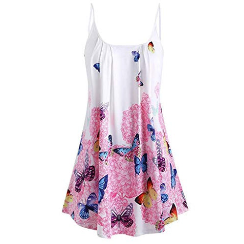 terbklf Women's Spaghetti Strap Floral&Butterfly Printed Beach Swing Dress Plus Size Dresses for Women Casual Summer Pink