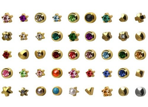 Universal August Ear Piercing Birthstars 12 Pair Peridot 24 K Gold Cartilage Earring Stud Hypoallerg