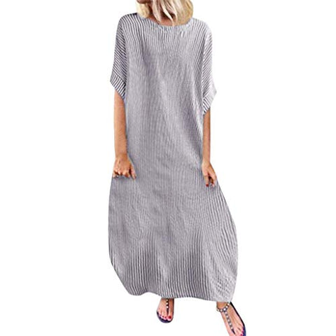 terbklf Stripe Dresses for Women Casual Summer Party Dress with Pockets Ladies Loose Swing Dress Sleeveless Beach Dress Gray
