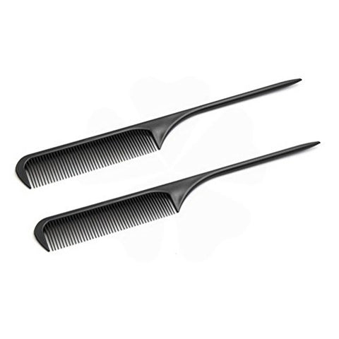 2 Pcs Black Plastic Professional DIY Salon Hair Styling Hairdressing Cutting Tool Fluffy Rattail Comb by Uptell