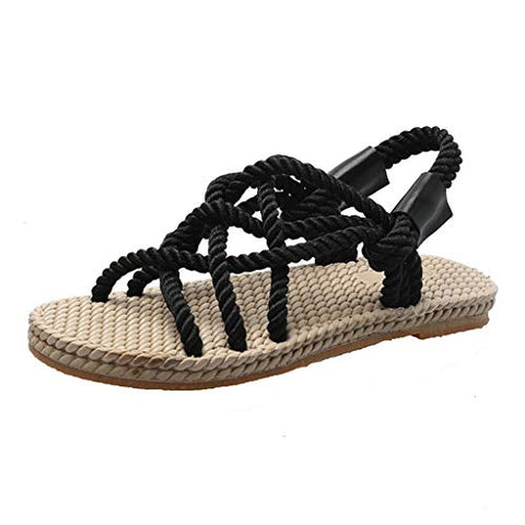 Women's Gladiator Flat Sandals Summer Casual Fashion Bohemian Fisherman Strappy Sandals Beach Walking Shoes Black