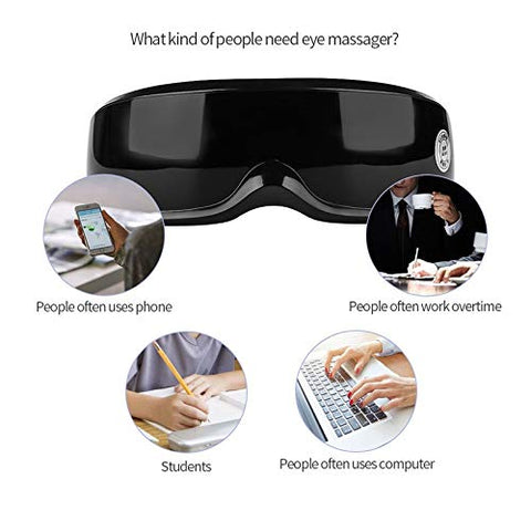 XINHUANG Wireless Rechargeable Eye Massager Magnets Acupoints Massage Vibrate Eye Care Fatigue Stress Relief Goggles Improve Eyesight