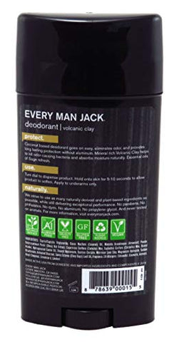 Every Man Jack Deodorant 2.7 Ounce Volcanic Clay