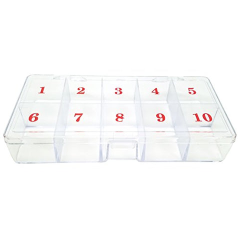 Beauticom Medium Empty 10 Space Nail Art Tip Storage Box Case with # 1 to 10 (Hard Acrylic Clear Quality)