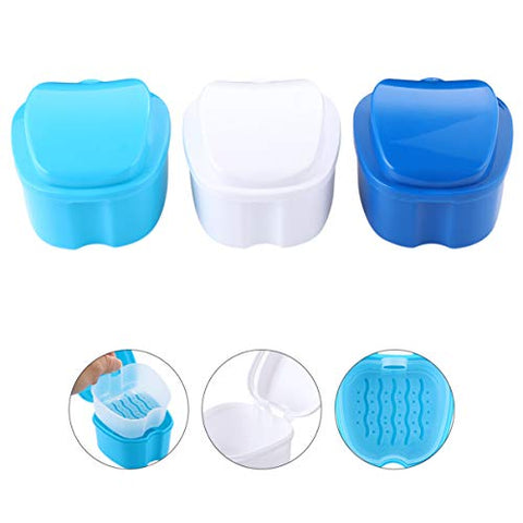 HEALLILY 2Pcs Colors Denture Bath Case Denture box plastic denture case for Protection