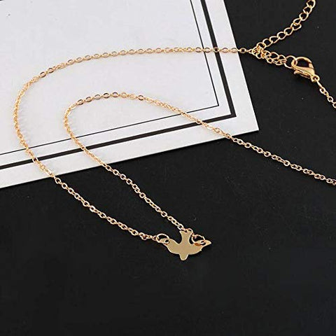 Jovono Fashion Dove Pendant Necklaces Pigeon Necklace Chain Jewelry for Women and Girls (Gold)