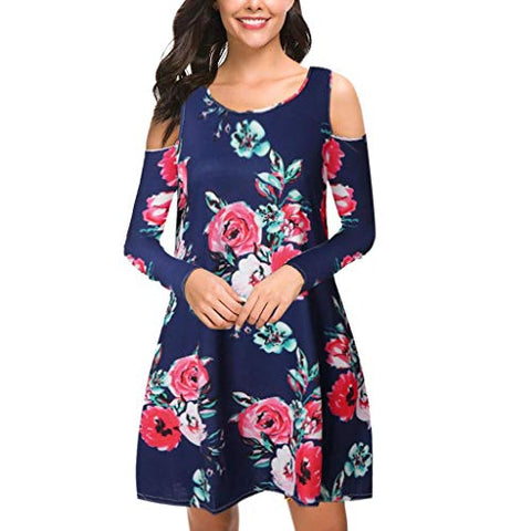 terbklf Off The Shoulder Dresses for Women Long Sleeve Dresses Special Occasion Party Wedding Guest Dress with Pockets Navy
