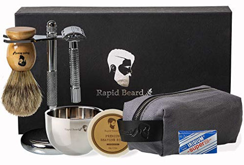 Shaving Kit for Men Wet Shave - Safety Razor with 10 blades, Shaving Badger Hair Brush, Shaving Soap Cream, Shaving Stand, Stainless Steel Bowl Mug, Canvas Dopp Kit Gift Set