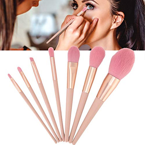 7pcs Nude Pink Brush Set, Loose Powder Eyeshadow Brush Concealer Cosmetic Makeup Tool, Friendly to Beginners, Brushes with Soft Smooth Nylon Hair and Fresh Design