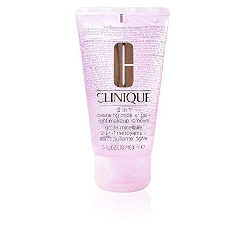 Clinique 2-In-1 Cleansing Micellar Gel + Light Makeup Remover, 5 Ounce
