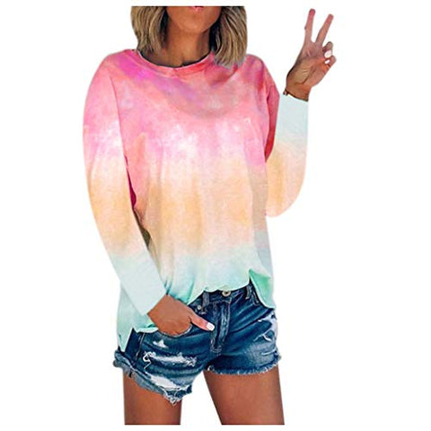 HHoo88 Women's Plus Size Tie-Dye Blouse Summer Autumn Long Sleeve Crew-Neck T-Shirt Casual Tee Tops Pullover(S-5XL) Wine