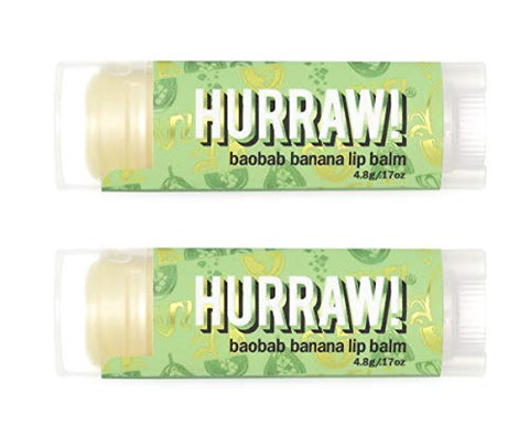 Hurraw Baobab Banana Lip Balm, 2 Pack ?? Organic, Certified Vegan, Cruelty and Gluten Free. Non-GMO, 100% Natural Ingredients. Bee, Shea, Soy and Palm Free. Made in USA