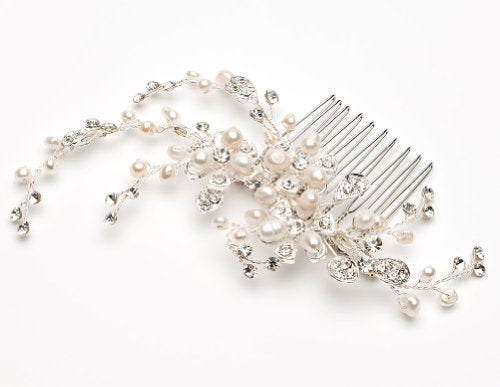 USABride Bridal Comb with Freshwater Pearl and Rhinestones Wedding Headpiece 2051