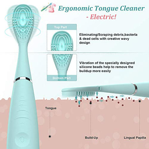 Electric Tongue Cleaner,Uniharpa Vibrating Tongue Scraper for Fresher Breath in Seconds Made by Soft Silicone (Blue?