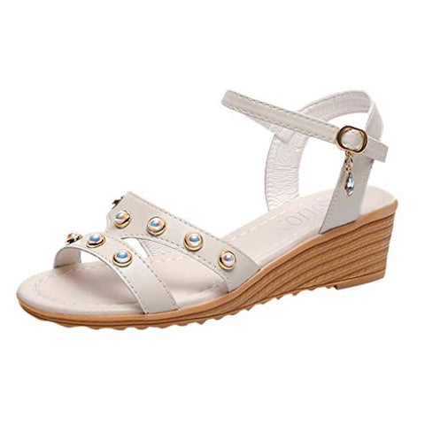Xinantime Womens Summer Pearl Sandals Students Roman Wedges Casual Beach Shoes (Beige,35)