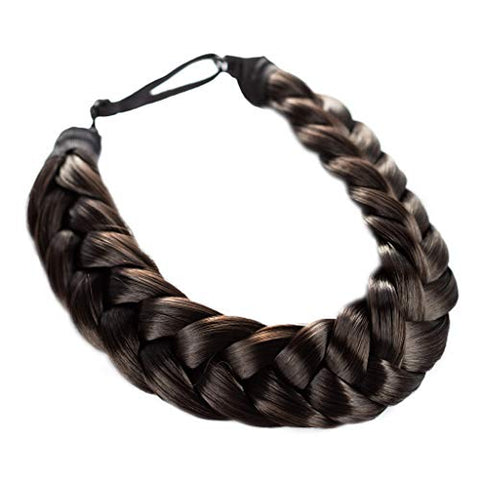 Madison Braids Women's Two Strand Headband Hair Braid Thick Natural looking Extension - Halo - Dark Brown