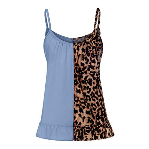 Dosoop Women Camisole Summer Casual Leopard Print Patchwork Camis Loose Sleeveless Tunic T-Shirt Tank Tops Vest