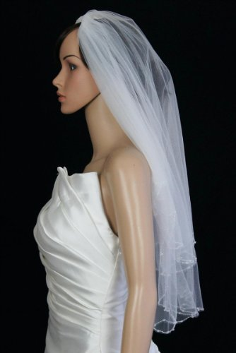 Bridal Veil Diamond (Off)White 2 Tiers Elbow Length Edge Trimmed In Clear Beads