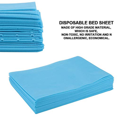 Disposable Bed Sheet, Waterproof Oil-proof Bed Cover Massage Bed Sheet Protecting Sheet for Salon SPA Tattoo Massage Table Hotels - 69.7 31.5 inch(Blue)