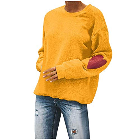 Xinantime Womens Casual Solid Color O-Neck Love Print Loose Sweatshirt Valentine's Daily Blouse Tops (Yellow,XS)