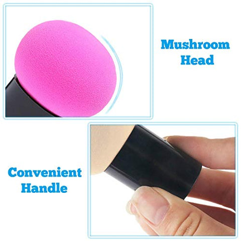 3 Pcs Mushroom Makeup Sponge Cosmetic Blender Puff Latex Free Facial Sponge Beauty Puff Makeup Brush Sponge with Handle Case for Concealer BB Cream Foundation Makeup Tools (A)