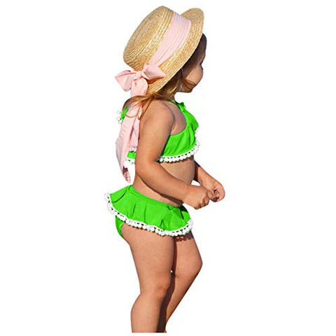jkhhi Toddler Infant Girls Cold-Shoulder Swimwear Tops Two Pieces Bikini Shorts Ruffled Balls Tassel Beachwear Swimsuit(Green,6-12M)