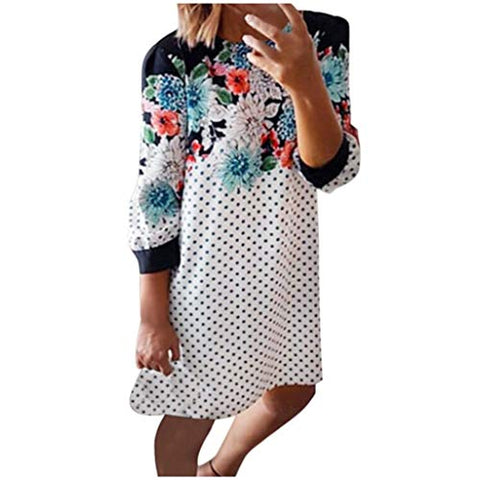 Eoeth Womens Floral Polka Dot Short Mini Dresses Round Neck Long Sleeve Loungewear Comfy Loose Casual Dress White