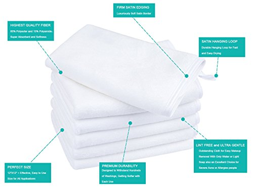 KinHwa Microfiber Facial Cleaning Cloths Super Soft Washcloths for Face with Silky Satin Border 12Inch X 12Inch (6, White)