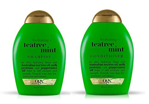 OGX Hydrating Tea Tree Mint Set, Shampoo and Conditioner (13 Ounce Bottles)