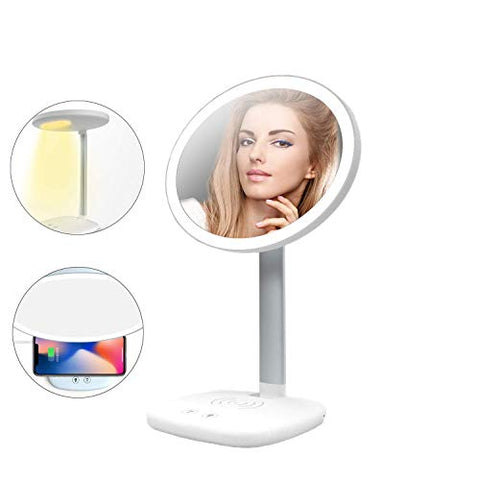 Makeup Mirror Table lamp LED with Light Simple Makeup Mirror, Smart Phone Wireless Charging, Touch Switch, 3 Light Color e, Makeup Mirror with Mosquito Repellent