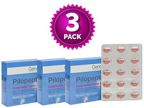 3 Pack Genov Pilopeptan For Woman 30 x 3 (90 Tablets) - Hair Regrowth Treatment - Stop Hair Loss - Nail and Hair Treatment