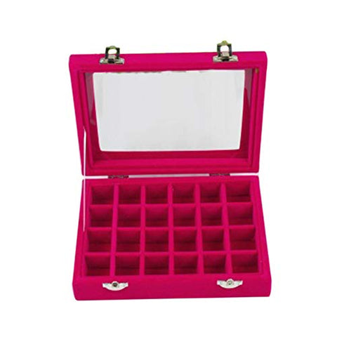 bromrefulgenc Jewelry Box Organizer Storage Case,24 Slots Wooden Transparent Cover Buckle Jewelry Storage Box Organizer for Rings Earrings Necklace Rose Red
