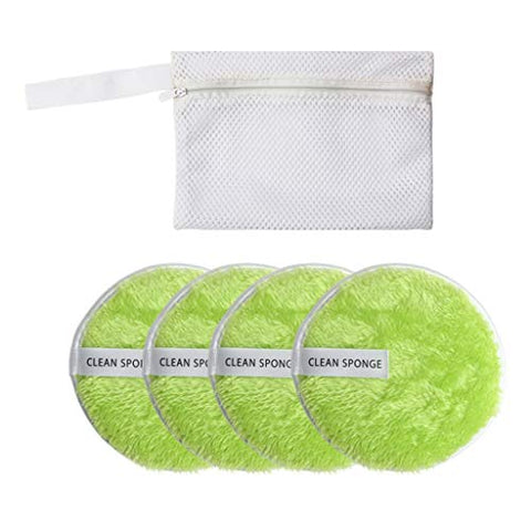 4Pcs Remover Microfiber Pads Towel Face Cleansing Makeup Sponge Pads Puff, Multi-function Puff Face Beauty Makeup Remover Tool Set with Storage Bag, Green
