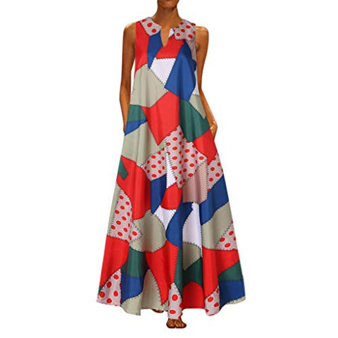 TEVEQ Women Maxi Dress Vintage Dresses for Women Plus Size Dress Sleeveless Floral Summer Boho Dress